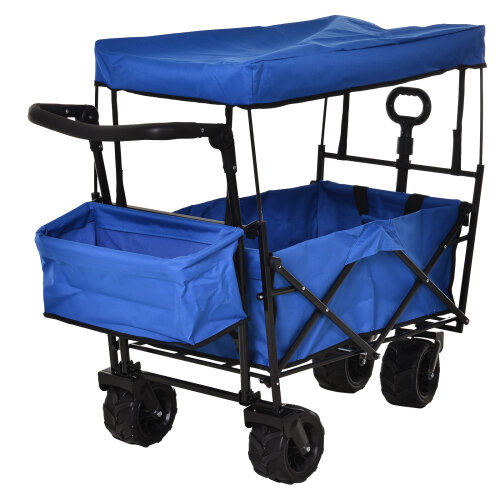 DURHAND Outdoor Push Pull Wagon Stroller Cart Fold Cargo w/ Canopy Top Blue