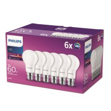 Philips LED B22 Bayonet Cap Light Bulbs, Frosted, 8 W (60 W) Warm White, 6 Pack