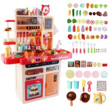 My Happy Little Chef Kitchen 80 Pieces Pretend Play Set with Multi-functional Button Panel, Light, Sound, Real Steam Functions and  Accessories (Pink)