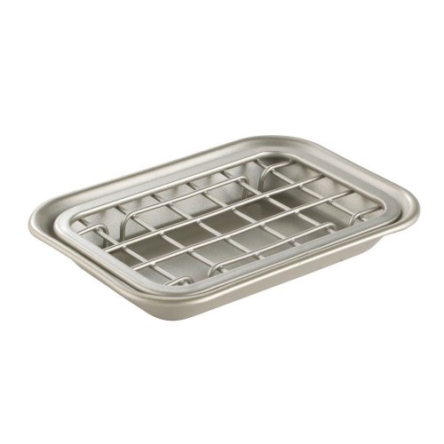 InterDesign Gia Bar Soap Dish for Bathroom Vanities, Kitchen Sink - 2 Piece, Satin
