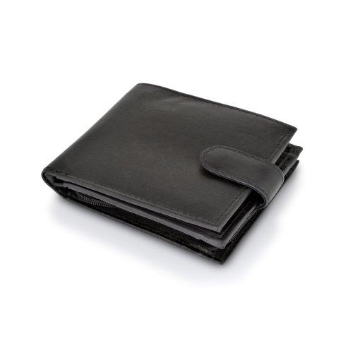 "Woodland Leather Black Bi Fold 4.5"" RFID Multi Pocket Wallet With Coin Pocket"