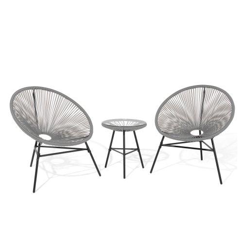 Beliani ACAPULCO Grey Outdoor Bistro Set | String Table & Chair Set