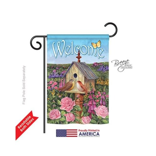 Breeze Decor 50049 Welcome Bird House 2-Sided Impression Garden Flag - 13 x 18.5 in.