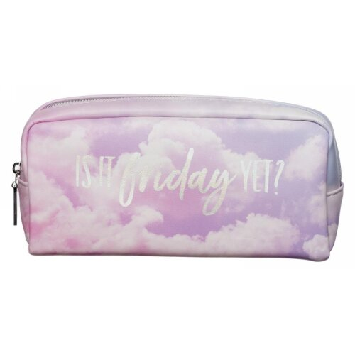 WHSmith Is It Friday Yet Chunky Pencil Case In Pastel Cloud Design Zipped