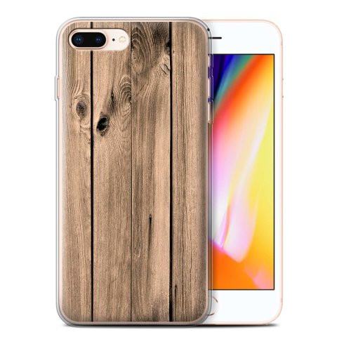 (Plank) Wood Grain Effect/Pattern Apple iPhone 8 Plus Phone Case Transparent Clear Ultra Soft Flexi Silicone Gel/TPU Bumper Cover for Apple iPhone 8 Plus