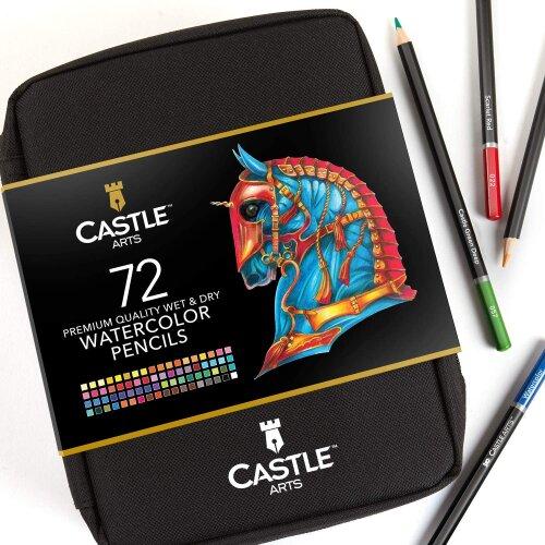 Castle Arts 72 Piece Premium Watercolour Pencils Set in Zip-Up Case