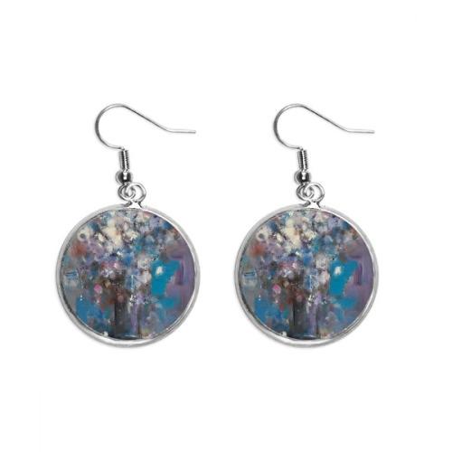 Flowers Blue XJJ Oil Painting Ear Dangle Silver Drop Earring Jewelry Woman