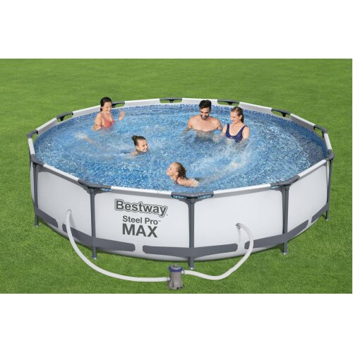 """(12'X30"""") BestWay Steel Pro Frame Swimming Pool Set Round Above Ground With Filter Pump"""