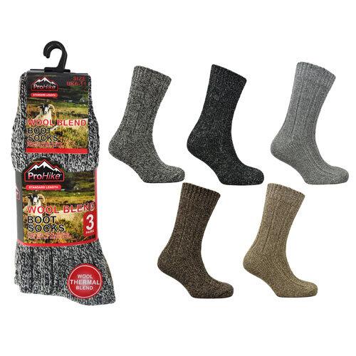 3 Pairs Mens Wool Blend Chunky Boot Socks UK Shoe Size 6-11