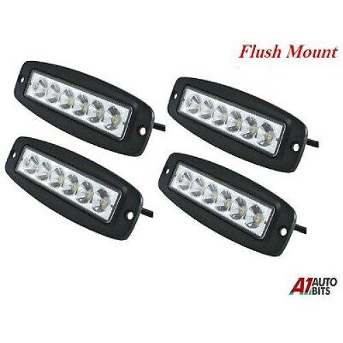 4x 18w 6 Led Work Flush Mount Drl Fog Running Driving Daytime Lights Dc 10-30v