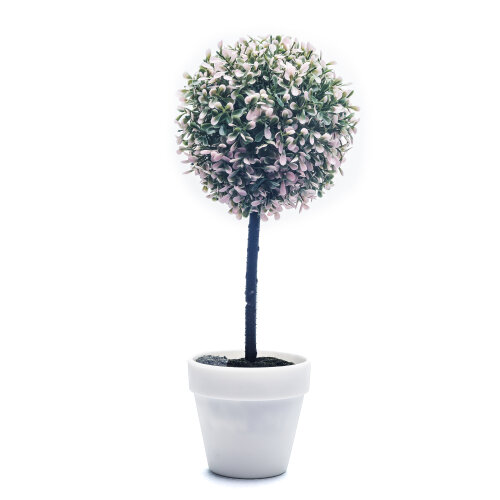 (Large, Pink) 2X Artificial Outdoor Ball Plant Tree