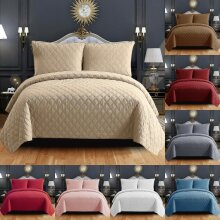 3 Piece Embossed Bed Throw Bedspread Quilted Bedding Set