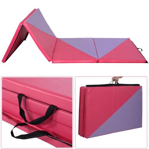 10 Ft Foldable Exercise Yoga Gymnastics Mat PU Soft Tumble Play Crash Safety UK