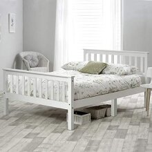 Wooden Bed in White For Adults, Kids, Teenagers