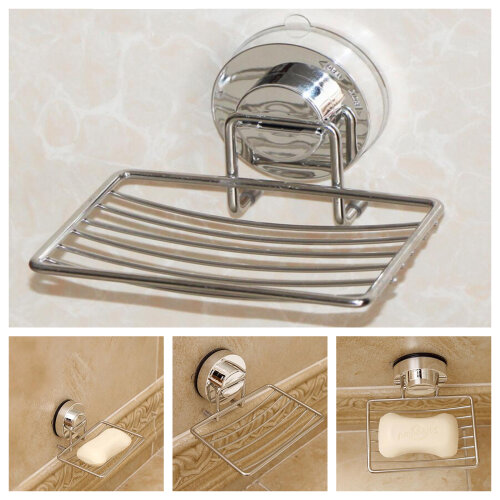 Metal Strong Suction Bathroom Shower Chrome Accessory Soap Dish Holder Tray 1PC