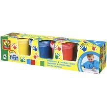 SES Creative Children's My First Washable Fingerpaint Set, 4 Paint Pots (145ml)