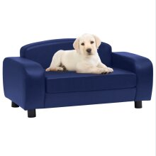 vidaXL Dog Sofa Blue Faux Leather Pet Cat Couch Animal Soft Bed Supply Home