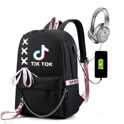 (X Pattern & Logo) TikTok Backpack | School Rucksack