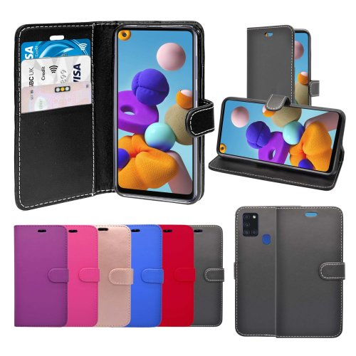 For Samsung Galaxy A21s Wallet Flip PU Leather Pouch Case Cover