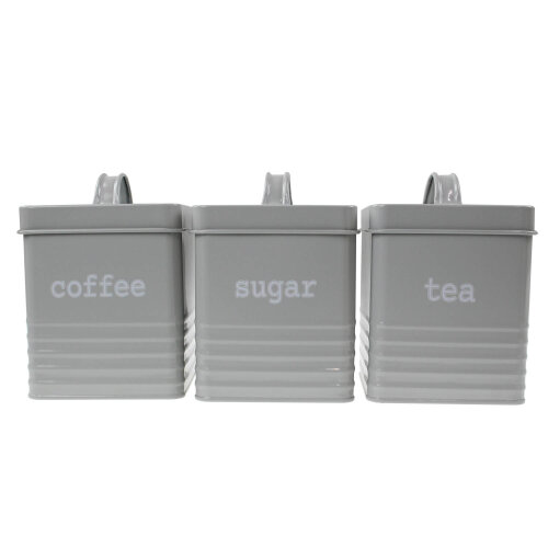 3pc Square Grey Canisters Tea Coffee Sugar Kitchen Storage Tin Jars Canister Set
