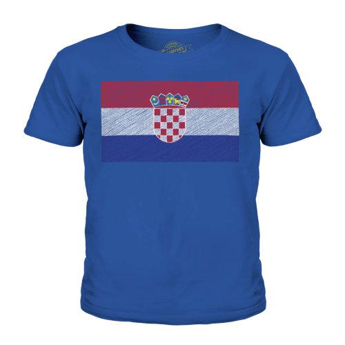 (Royal Blue, 7-8 Years) Candymix - Croatia Scribble Flag - Unisex Kid's T-Shirt
