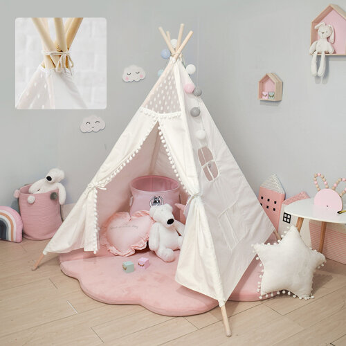Large Canvas Kids Teepee White Tent white with window Indoor Outdoor