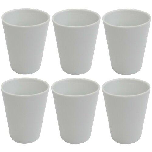 Invotis Set of 6 Gloss Glazed Stoneware Large Mug Beakers 350ml Stackcable White