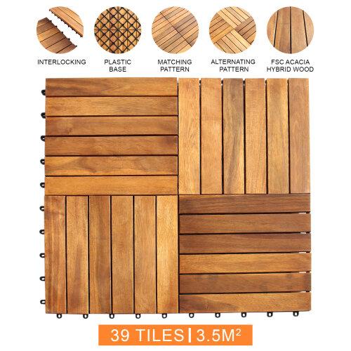 Decking Tiles Interlocking Square Wooden Garden Patio Deck Floor