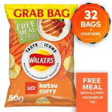 Walkers YO! Katsu Curry Crisps 32 x 50g Grab Bags 31.10.2020