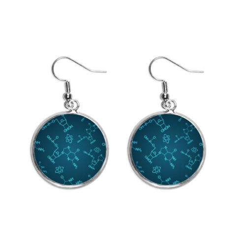 Blue Chemical Molecular Structure Illustration Ear Dangle Silver Drop Earring Jewelry Woman