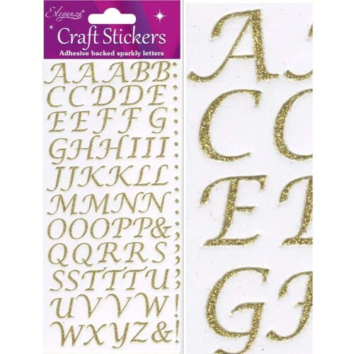 Eleganza Craft Stickers Stylised Alphabet Set Gold No.65