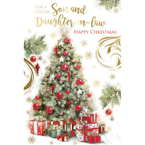 Son & Daughter In Law Tree & Presents Design Christmas Card Lovely Verse