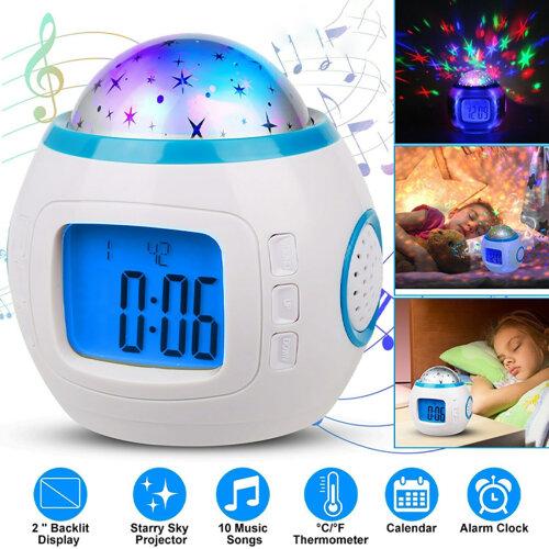 Kids Digital Music LED Star Sky Projection Lamp Alarm Clock Calendar Thermometer
