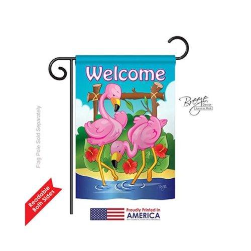 Breeze Decor 55029 Birds Flamingos 2-Sided Impression Garden Flag - 13 x 18.5 in.