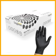 100 Disposable Black Nitrile Gloves Powder Latex-Free