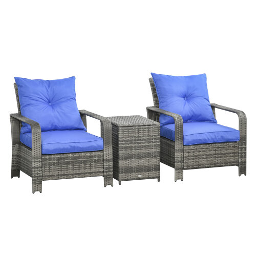 Outsunny 3 PCs PE Rattan Garden Sofa Set w/ 2 Chairs & Storage Table Mixed Grey