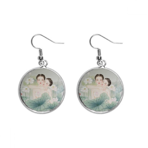 Beauty with Lotus Chinese Style Watercolor Ear Dangle Silver Drop Earring Jewelry Woman