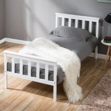 Single Bed White 3ft Solid Pine Wooden Bed