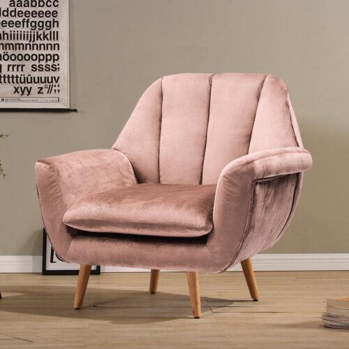 (Pink) Velvet Sofa Accent Tub Chair Shell Tulips Armchair