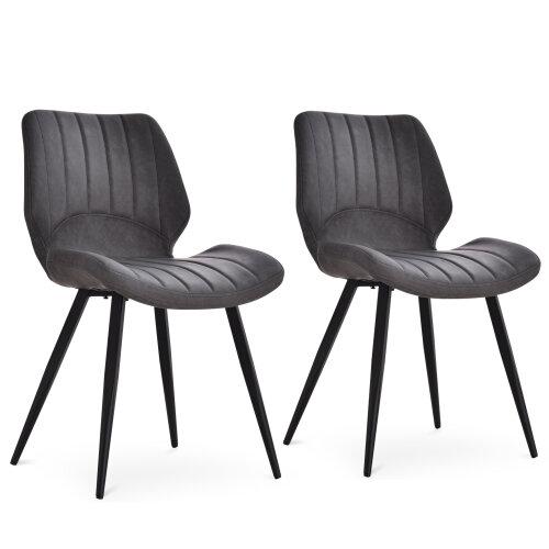 HOMCOM Set Of 2 Vintage PU Leather Dining Chair Moulded Seats Steel Frame Grey