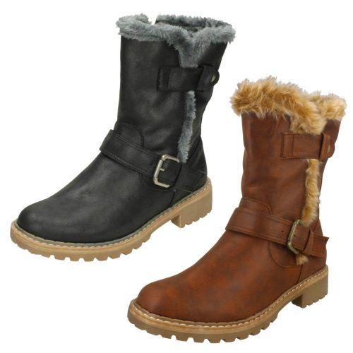 Ladies Down To Earth Fur Trim Calf Boots