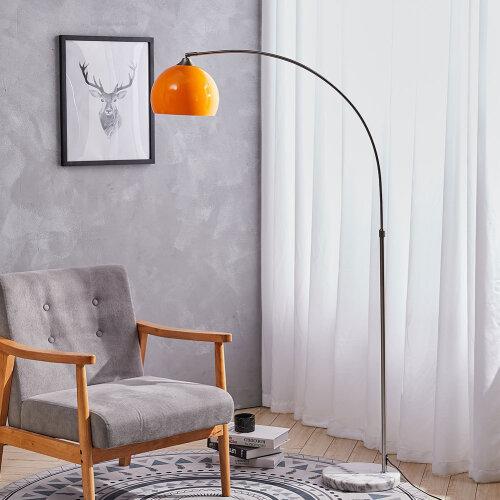 (Orange, 145-220cm) Arched Floor Lamp Marble Base Metal Finish Curved Floor Light Reading Light