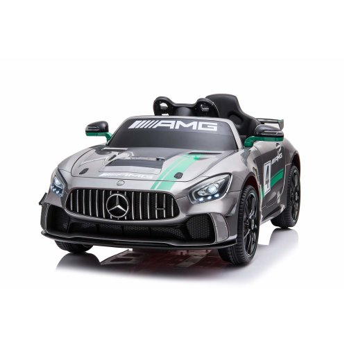 Licensed Mercedes Benz GT4 AMG Sports Edition 12V Electric Ride on Car Silver