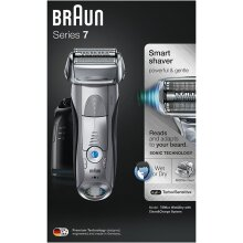 Braun Series 7 7898cc Men's Electric Foil Shaver, Wet and Dry with Clean and Charge Station, Rechargeable Stubble Shaver for Men, Silver