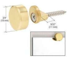 CRL Polished Brass Round Mirror Edge Fixings Clips Brackets x 4 6mm