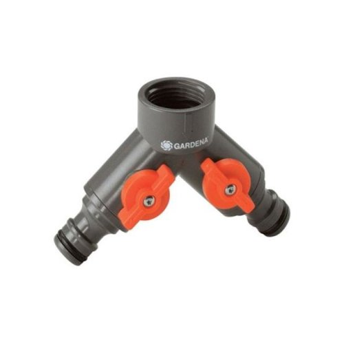 Gardena 36938-G 0.62 & 0.5 in. Twin Tap Connector  Nylon-ABS
