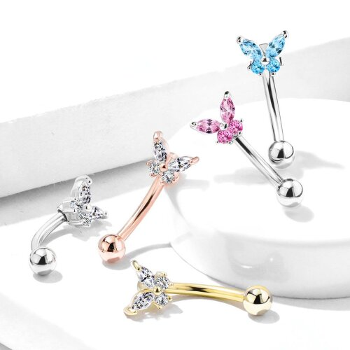 Aqua Butterfly CZ Prong Set Top 316L Surgical Steel Eyebrow Rings/ Curved Barbells 1.2mm x 8mm
