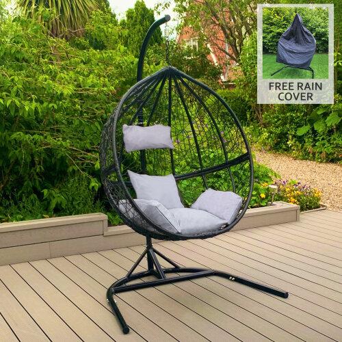 Black Egg Chair Rattan Hanging Swing Garden Outdoor Indoor & Cushions