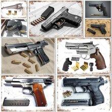The Handgun Metal Sign Gun Tin Poster Decorative Plaque