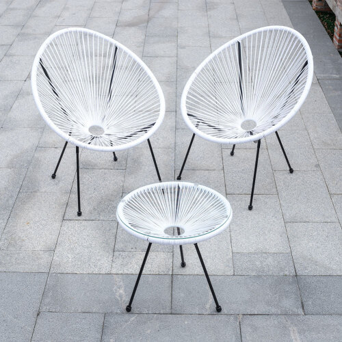 (White) Rattan Garden Bistro Table and Chair Patio Furniture Set